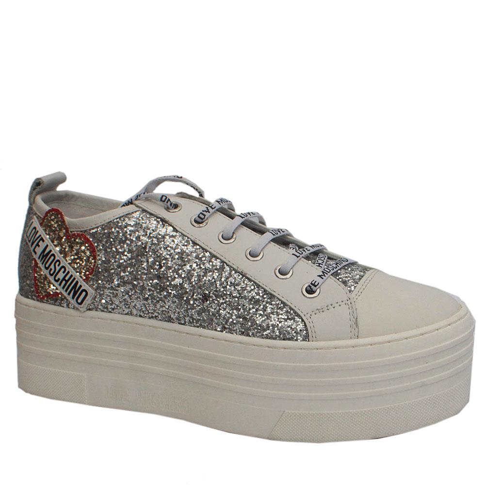 Love Moschino White Shimmering Platform Sneakers