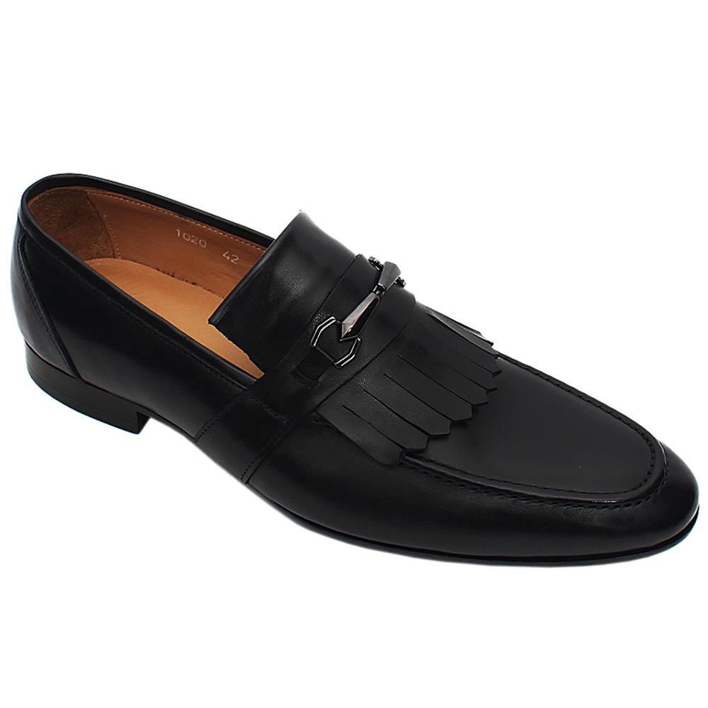 Black Fabrizio Italian Leather Men Fringe Loafers