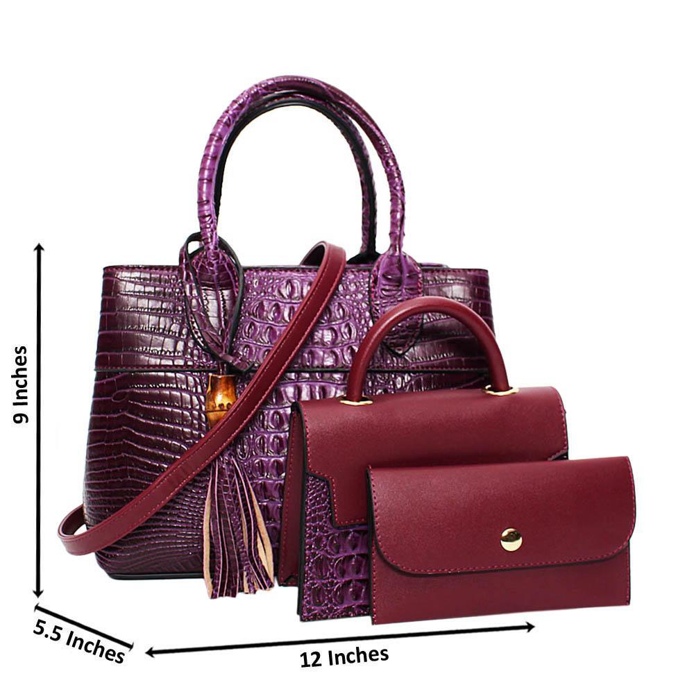 Purple Aliah Croc Leather Medium 3 in 1 Tote Handbag