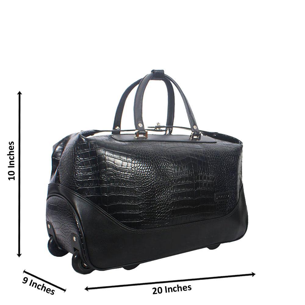 Black Croc Style Leather Trolley Duffel Bag