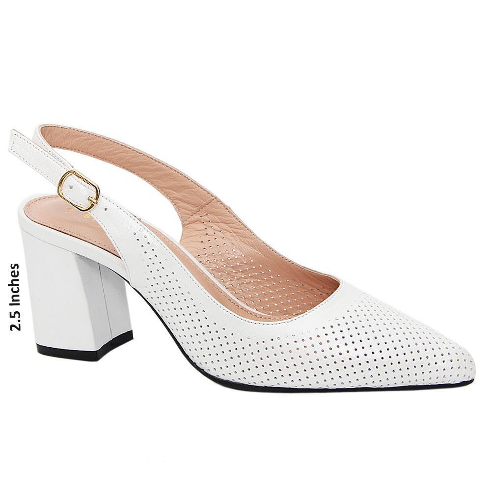 White Luna Tuscany Leather Mid Heel Breathable Slingback Pumps