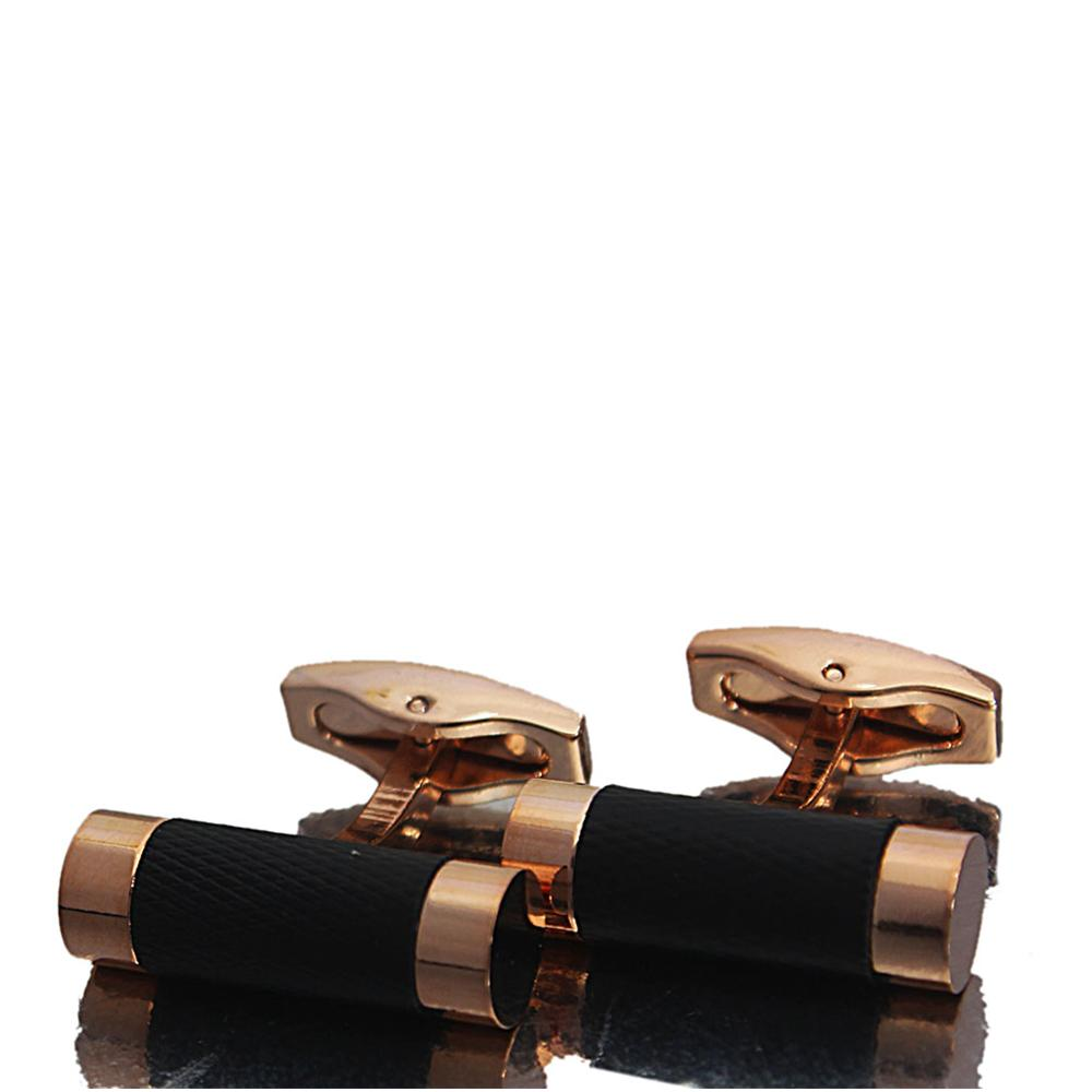Rose Gold Classic Black Band Stainless Steel Cufflinks
