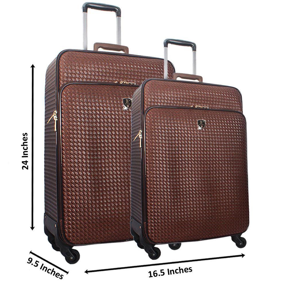 Coffee 24 Inch Wt 20 Inch 2 in 1 Woven Style Leather Luggage Set