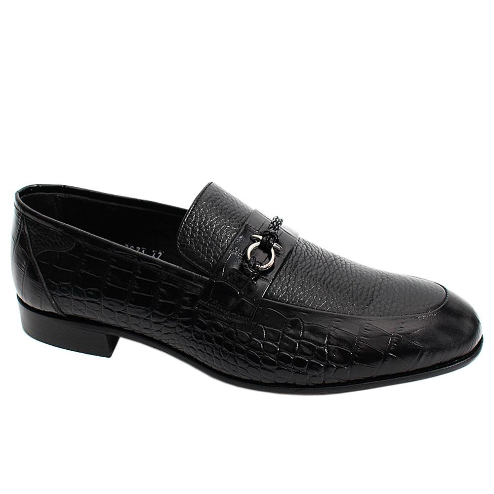 Black Croco Mix Italian Leather Men Penny Loafers