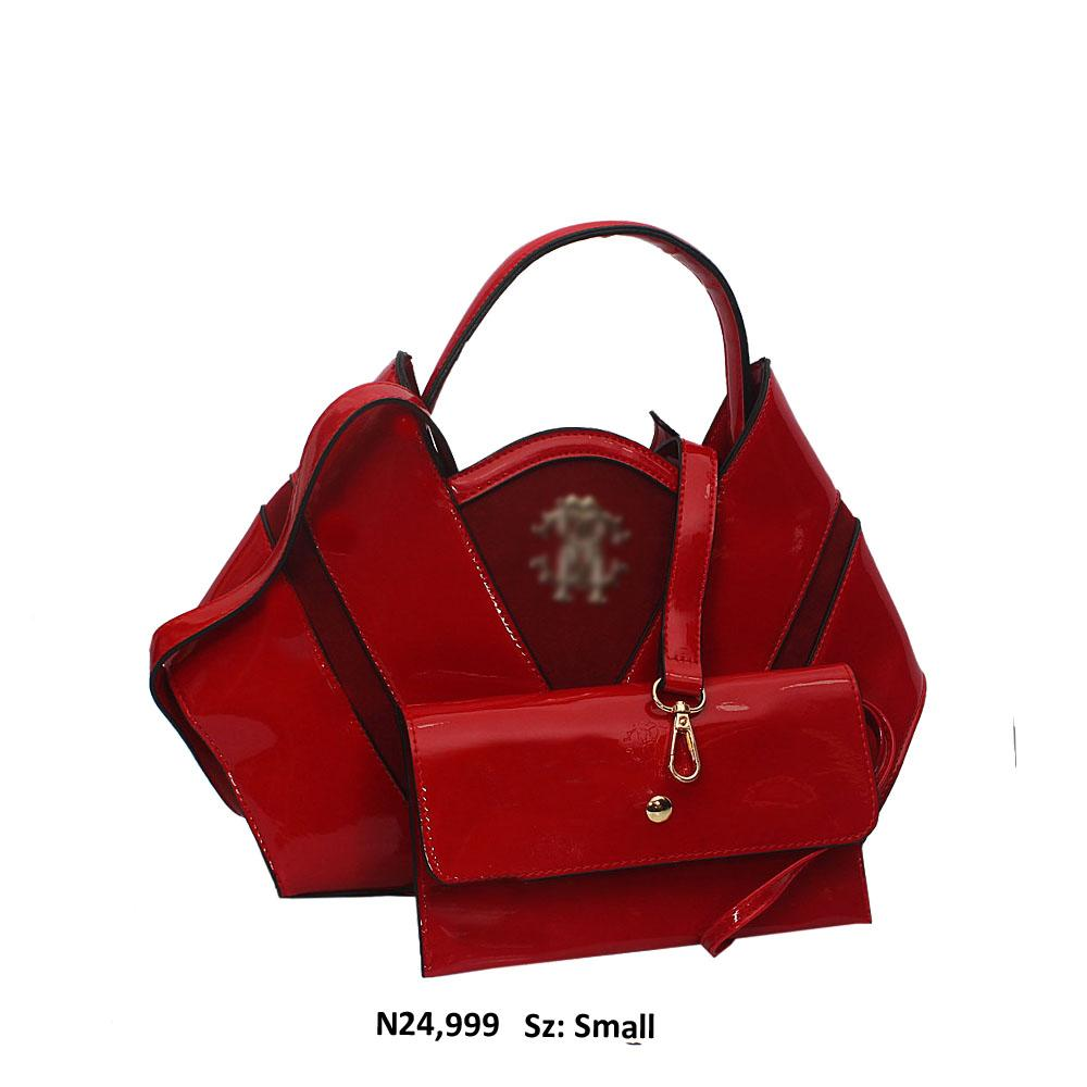 Small Red Patent Suede Leather Top Handle Handbag