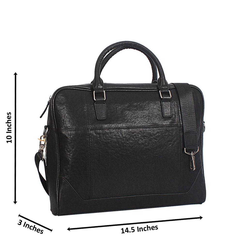Black Italian Full Grain Leather Briefcase