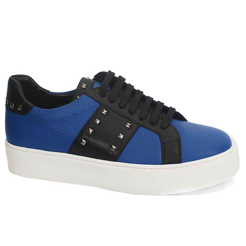 Blue-Black Studded Leather Thick Sole Sneakers