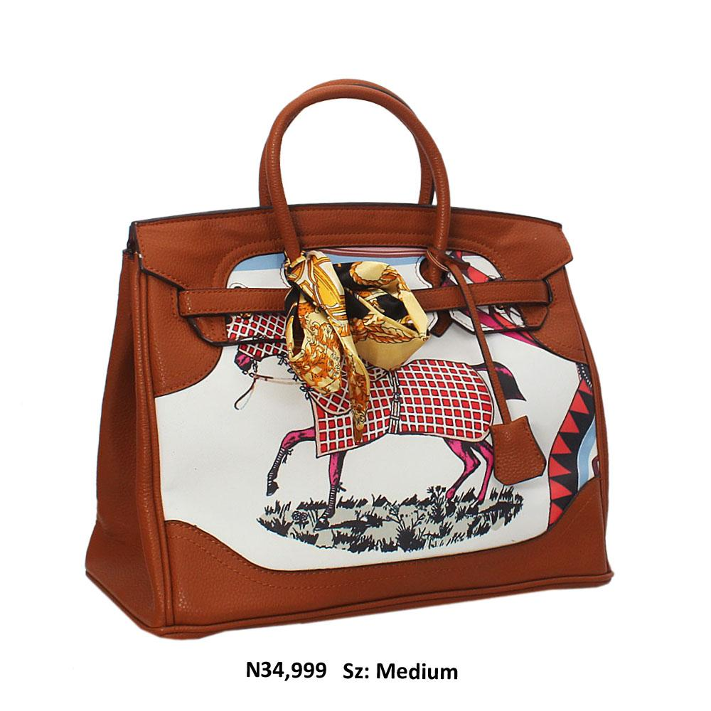 Brown Horse Graphic Leather Tote Handbag