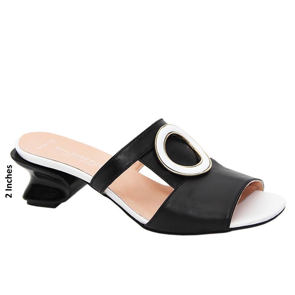 Black White Olivia Tuscany Leather Mid Heel Mule