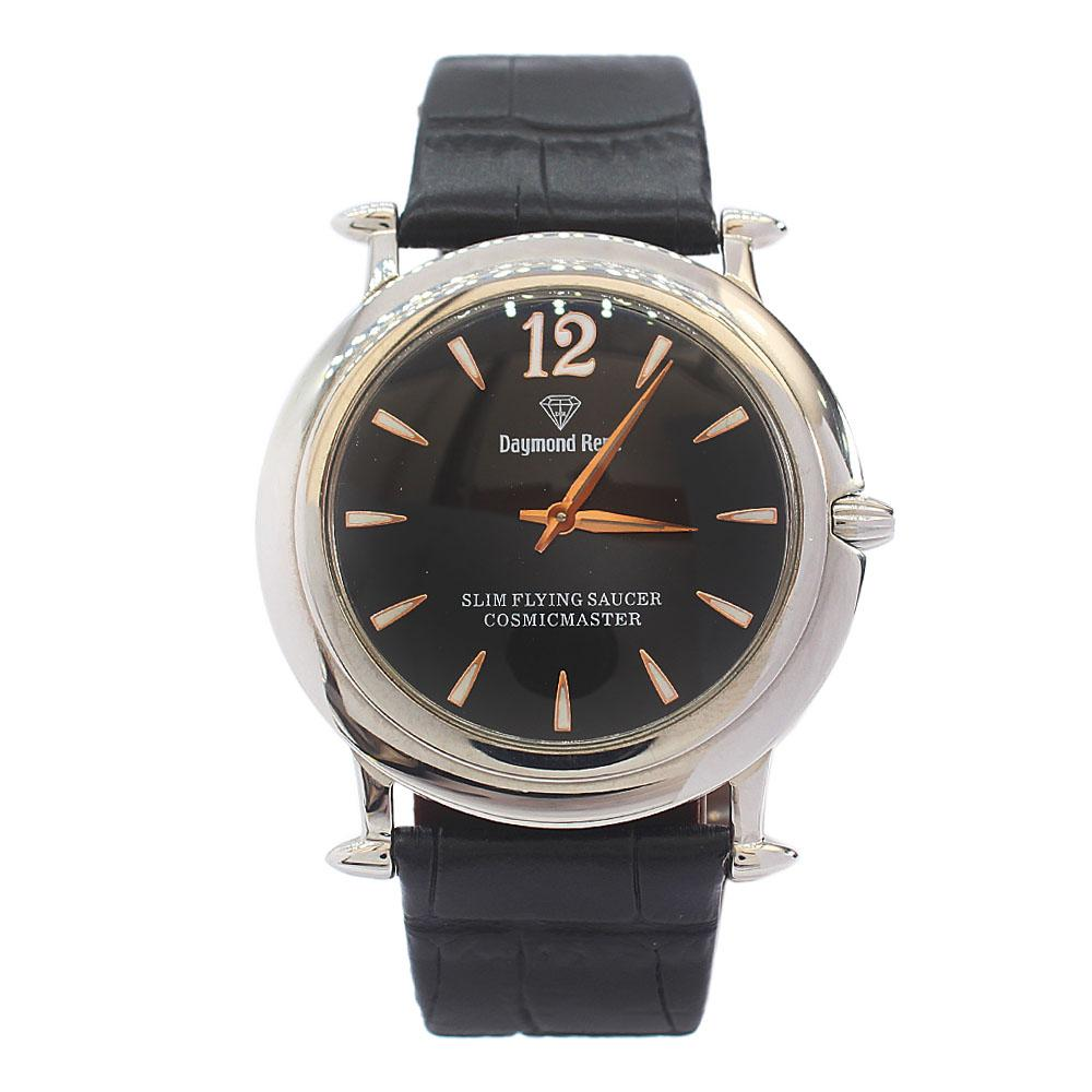 DR 3ATM Silver Black Leather Flat Watch