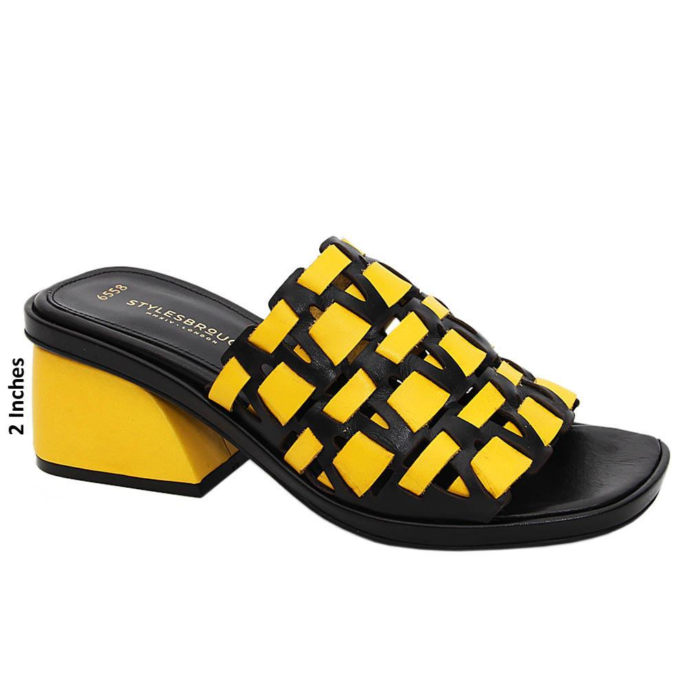 Yellow Black Mariana Tuscany Leather Mid Heel Mule
