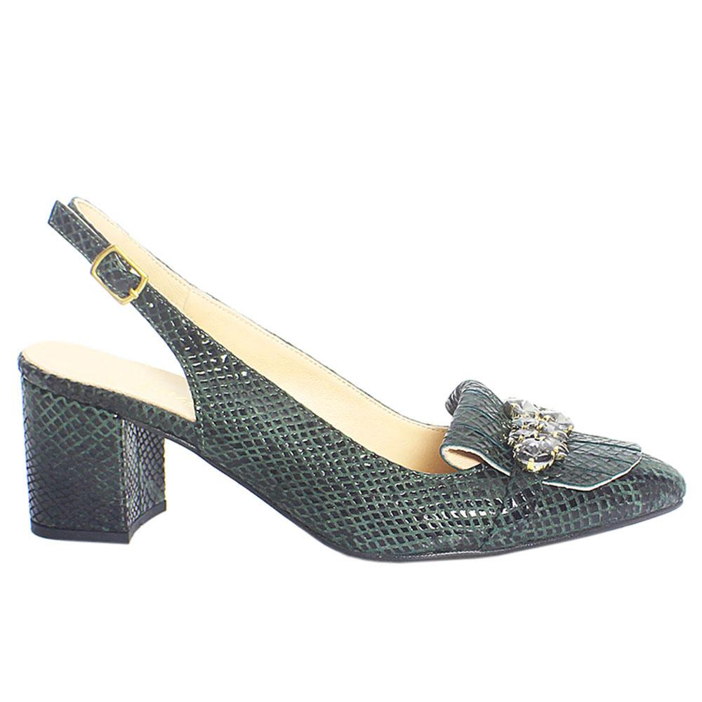 Green Ashford Crystals Italian Leather Slingback Heel