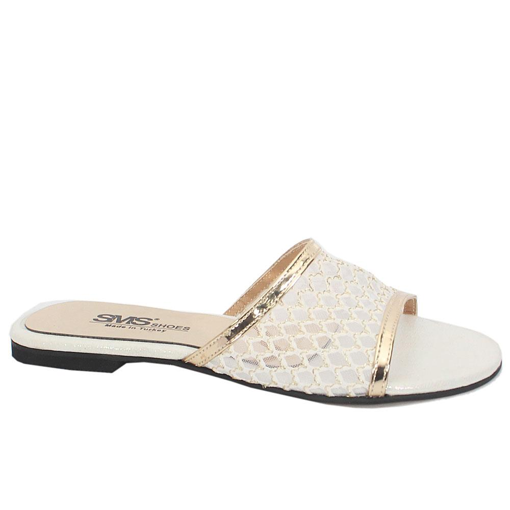 White Gold Leather Open Toe Mesh Flat Ladies Slippers