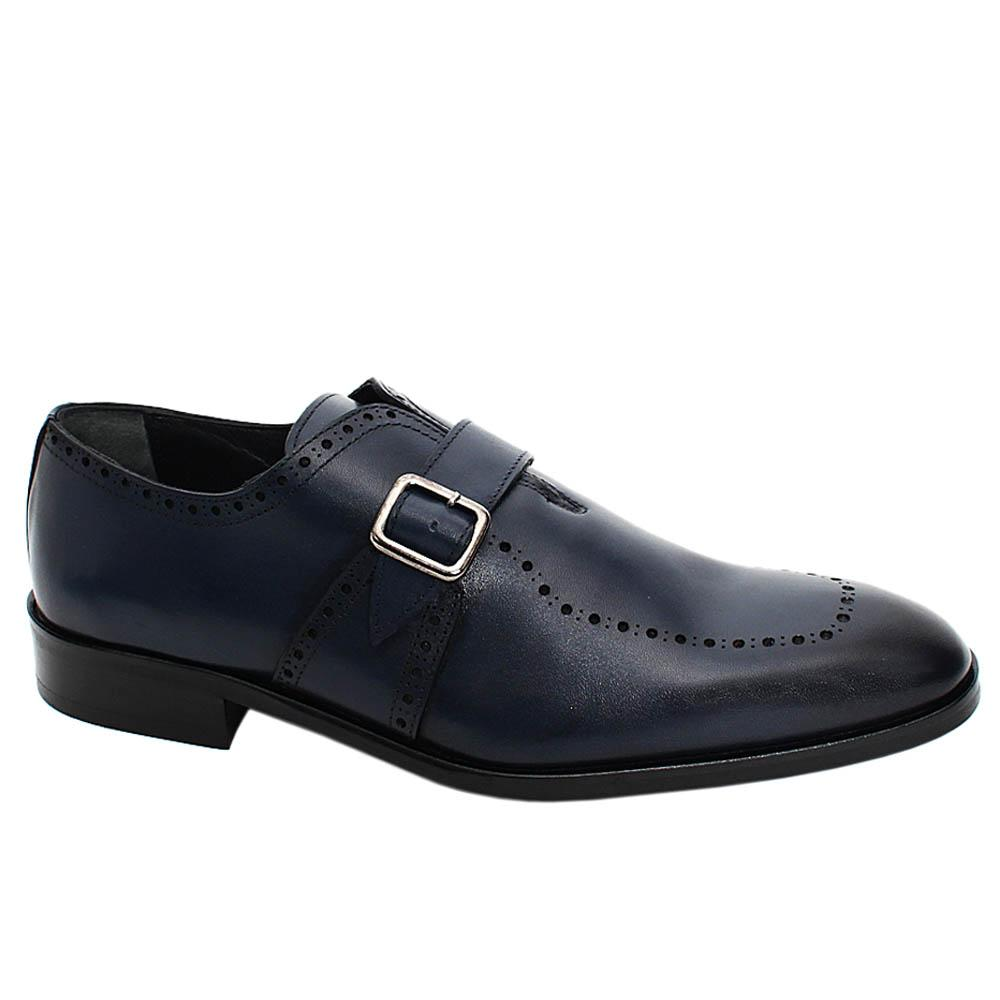 Navy Adonis Dotted Leather Men Monk Strap Shoe