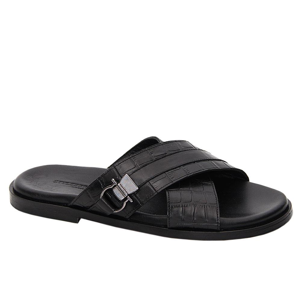 Black Fredrico Italian Leather Slippers