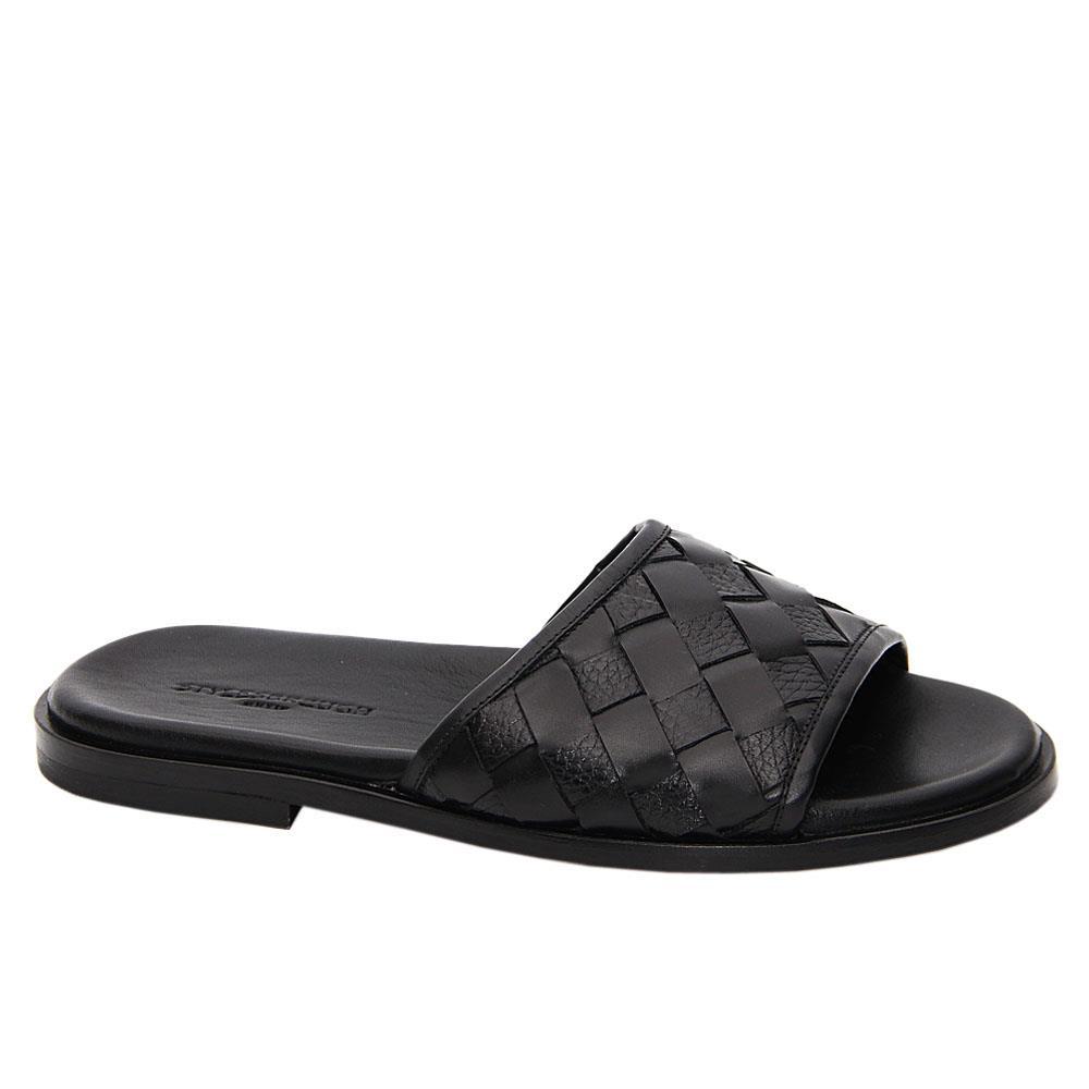 Black Lazaro Italian Leather Slippers