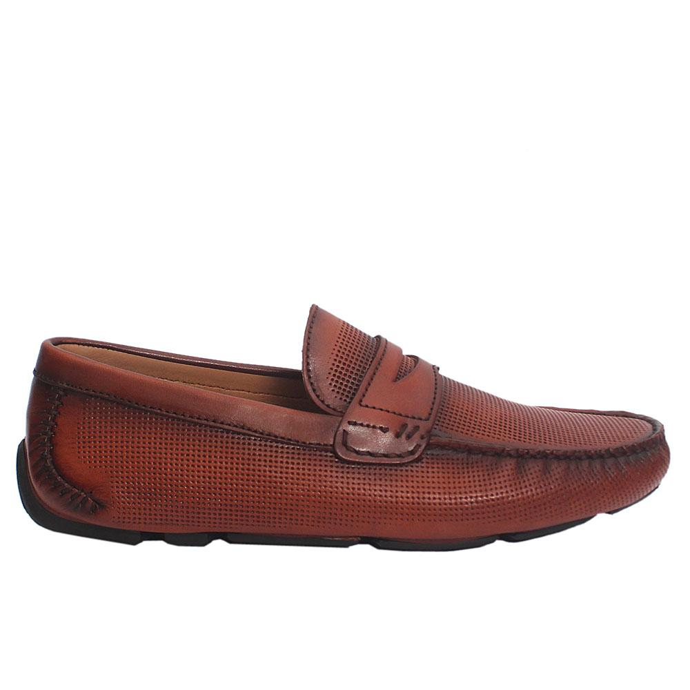 Brown konyak Italian leather drivers shoes