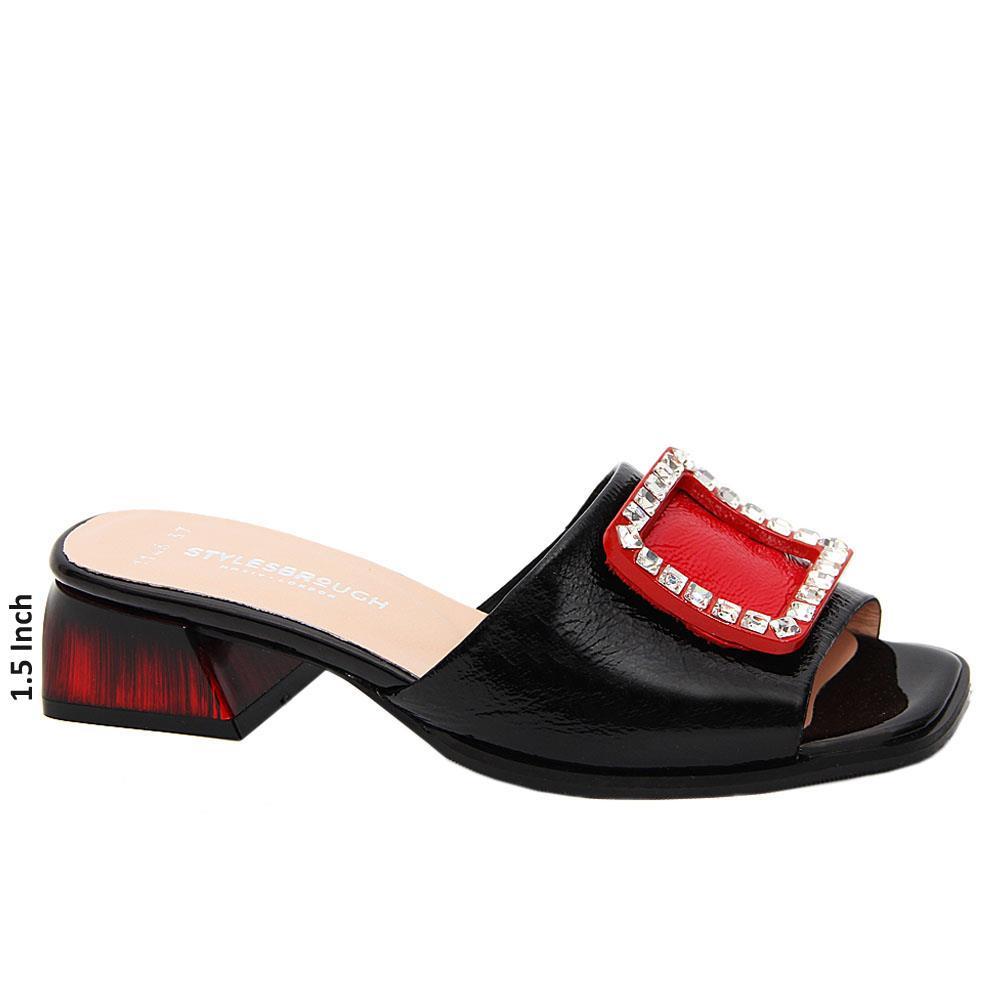 Black Madilynn Patent Tuscany Leather Low Heel Mule