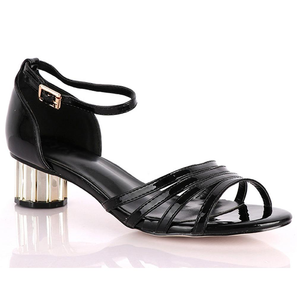 Black Marcuzzi Leather Low Heel Sandals