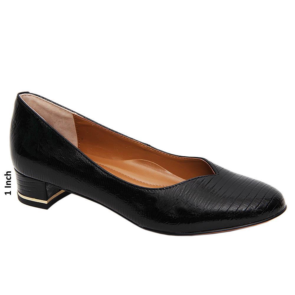 Black Zoey Patent Leather Low Heel Pumps