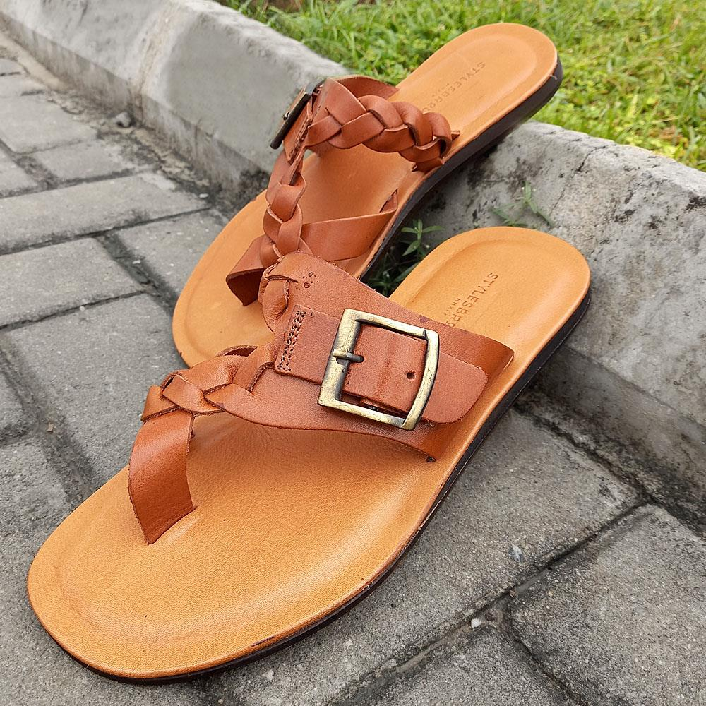 Brown Romeo Italian Leather Slippers