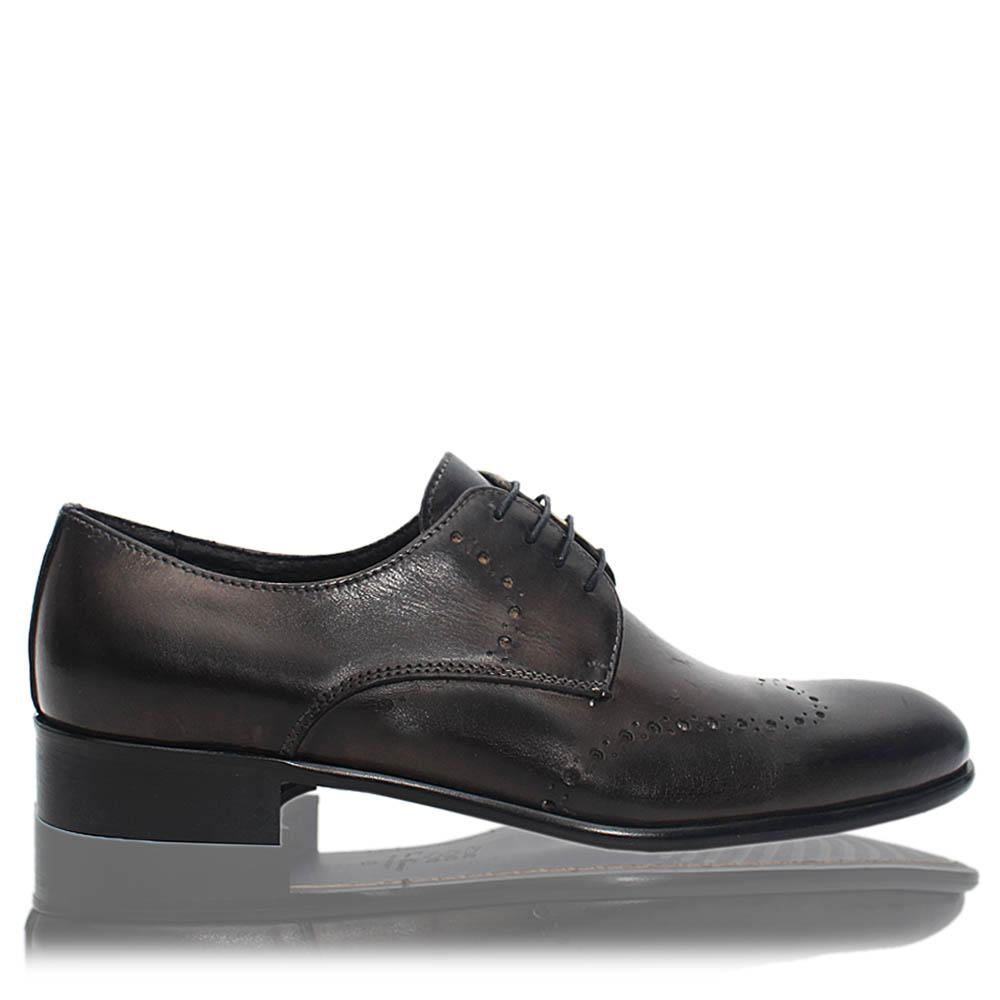 Gray Alberto Italia Leather Men Derby Shoes