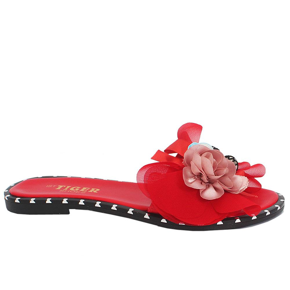 Red Leather Flat Slippers