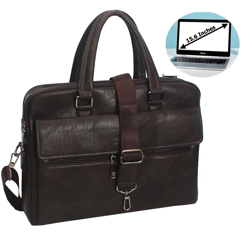 Coffee Gael Leather Double Zipper Briefcase