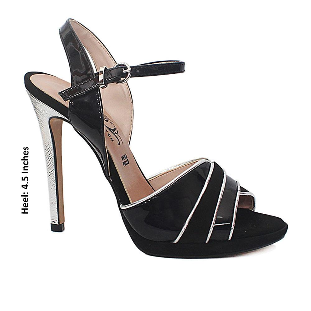 Black Silver Sia Suede Patent Leather Heel