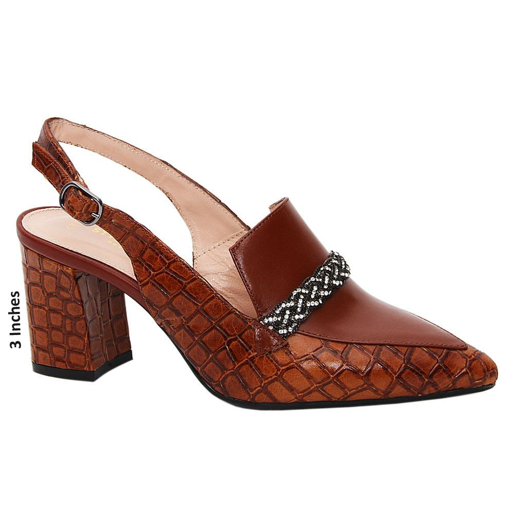 Brown Mila Tuscany Leather Mid Heel Slingback Pumps