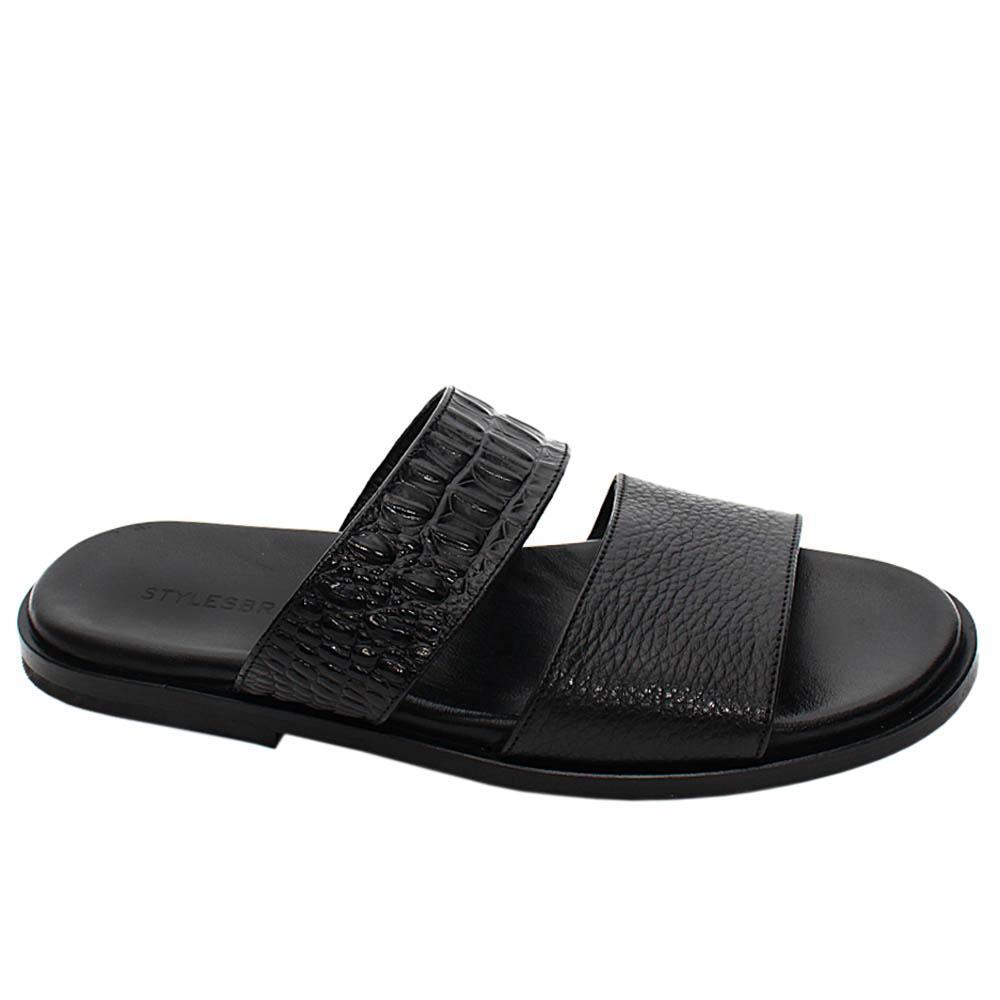 Black Alessandro Mix Croco Italian Leather Men Slippers