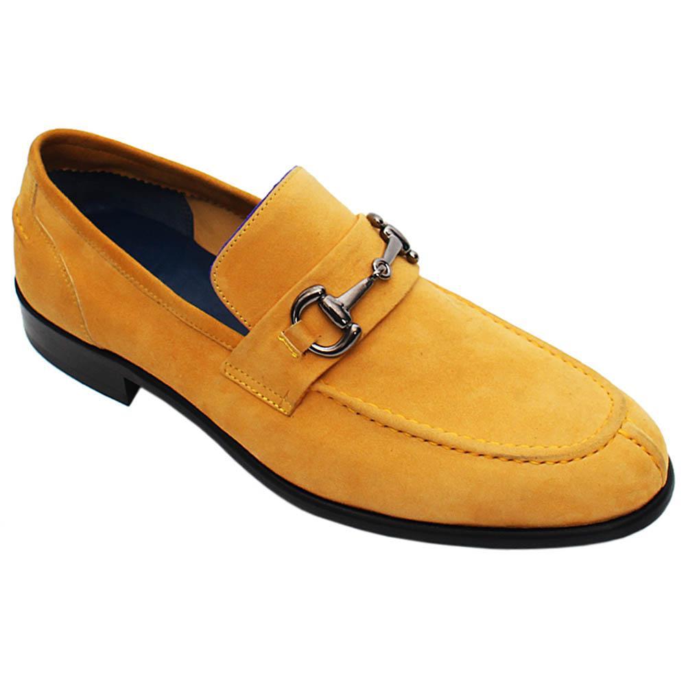 Mustard Yellow Luca Suede Italian Leather Men Horsebit Loafers