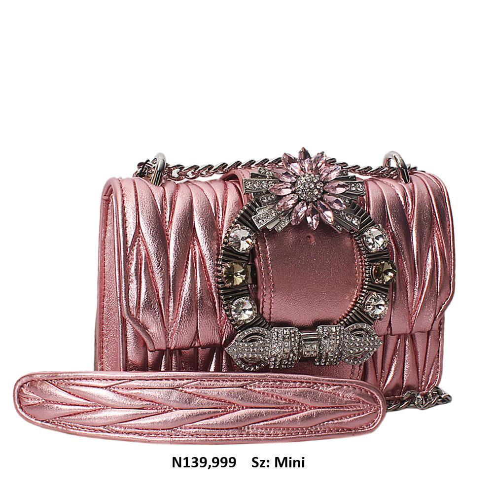 Pink Shimmering Crytals Studded Chain Crossbody Handbag