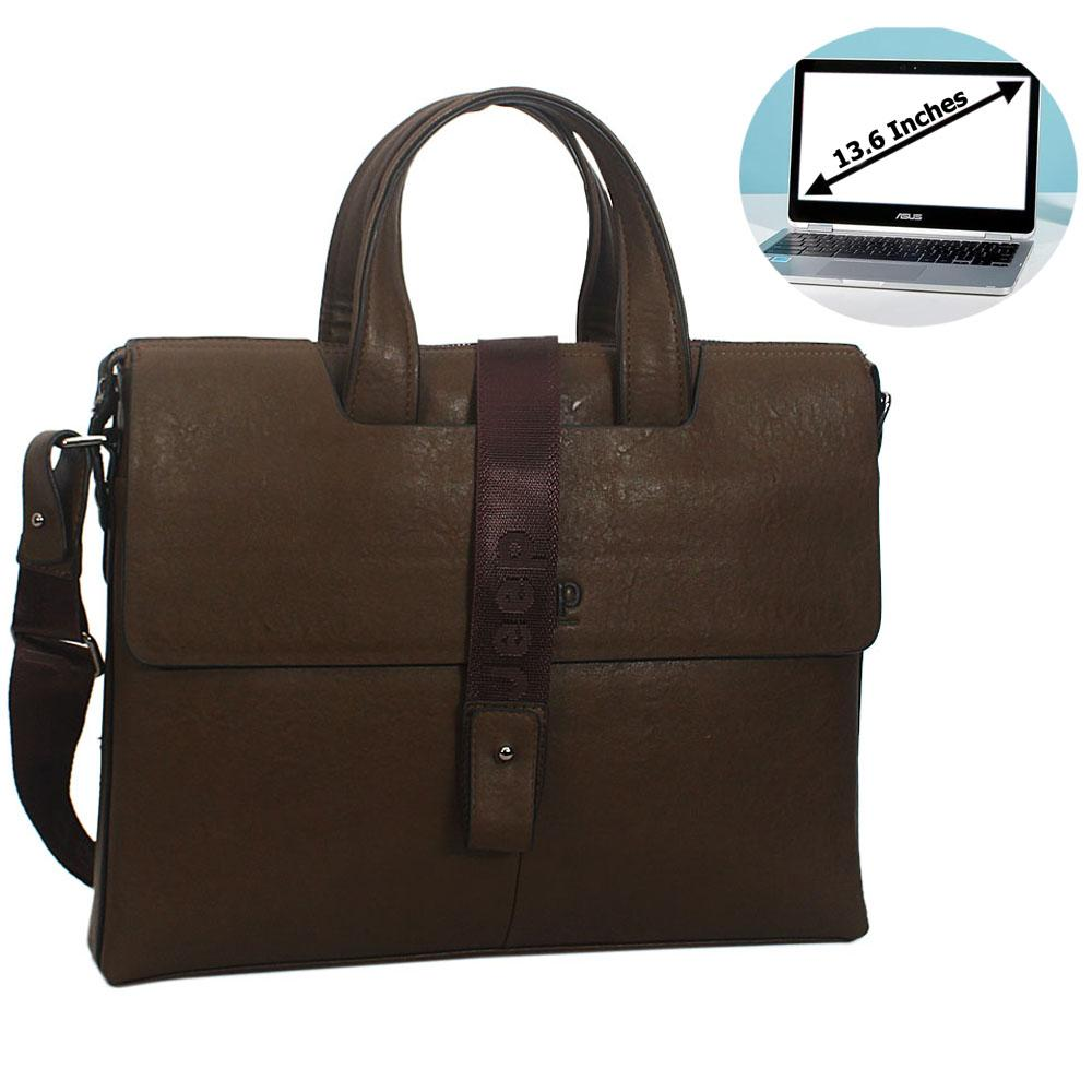 Desert Green Leather Double Flap Briefcase