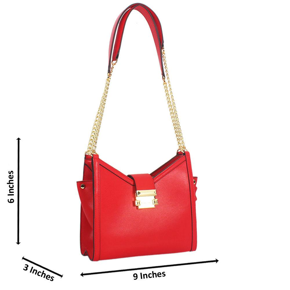 Red Perlita Leather Long Chain Strap Small Shoulder Handbag