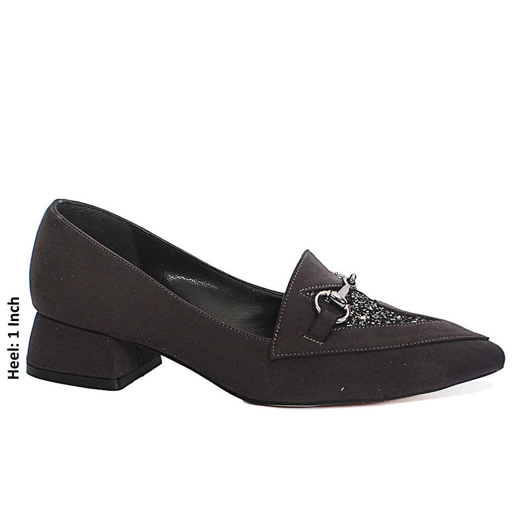 Dark Gray Suede Leather Low Heel
