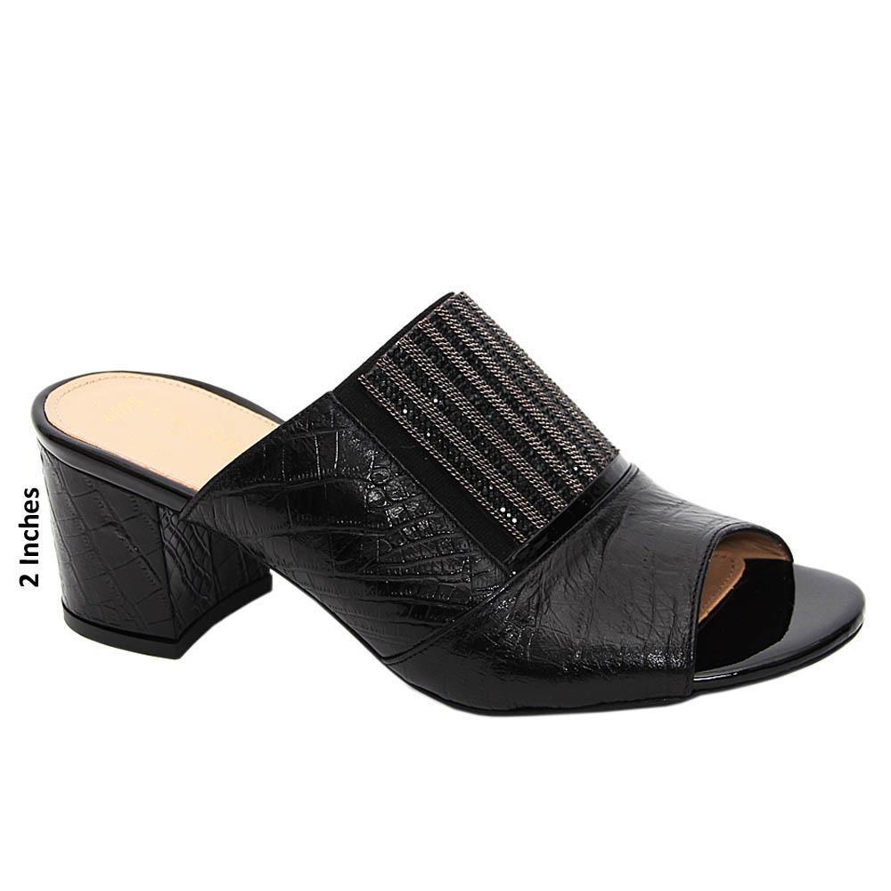 Black Sierra Studded Tuscany Leather Mid Heel Mule