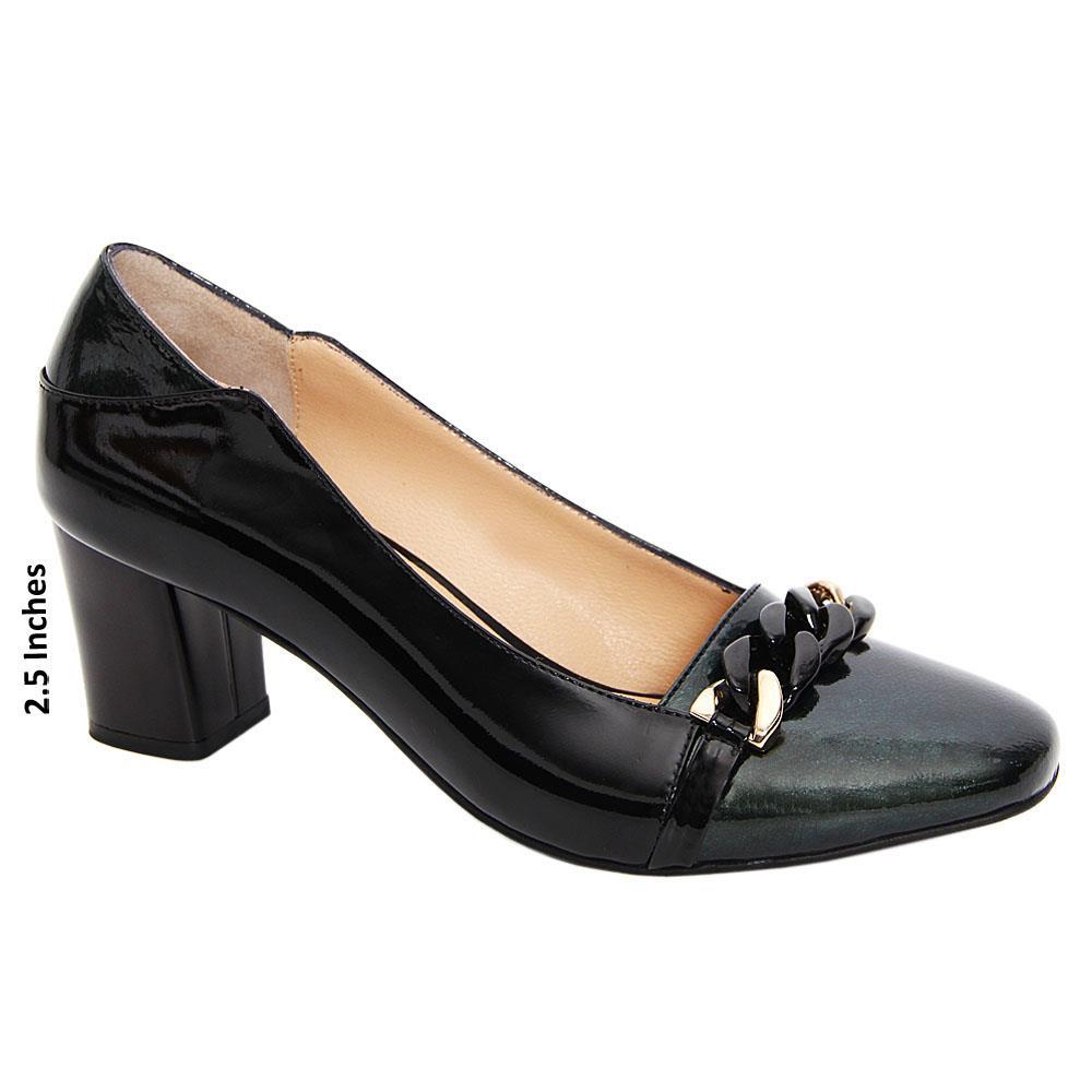 Black Green Fia Patent Leather Mid Heel Pumps