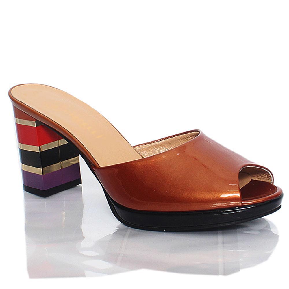 Brown Katleen Patent Italian Leather High Heel Slippers
