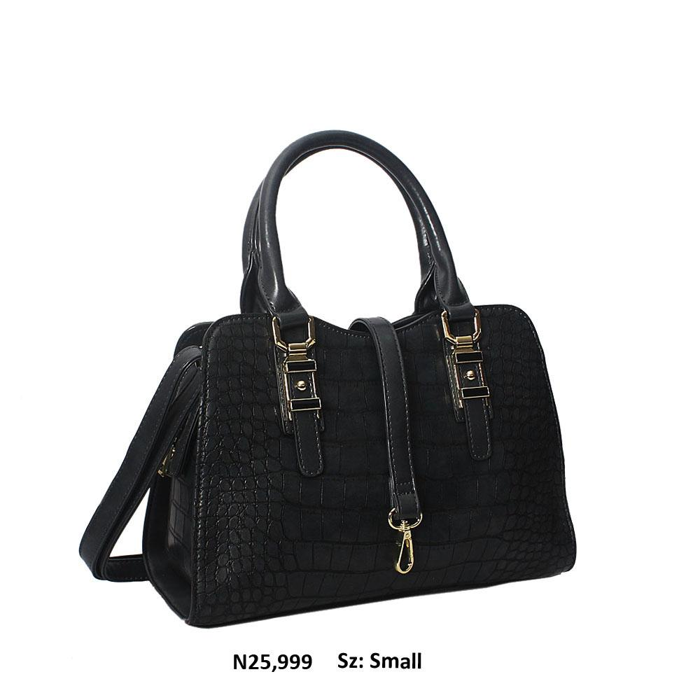 Dark Gray Claudia Croc Style Leather Tote Handbag