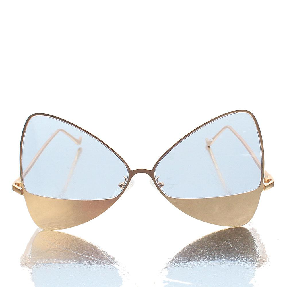 Gold Blue Lens Butterfly Sunglasses