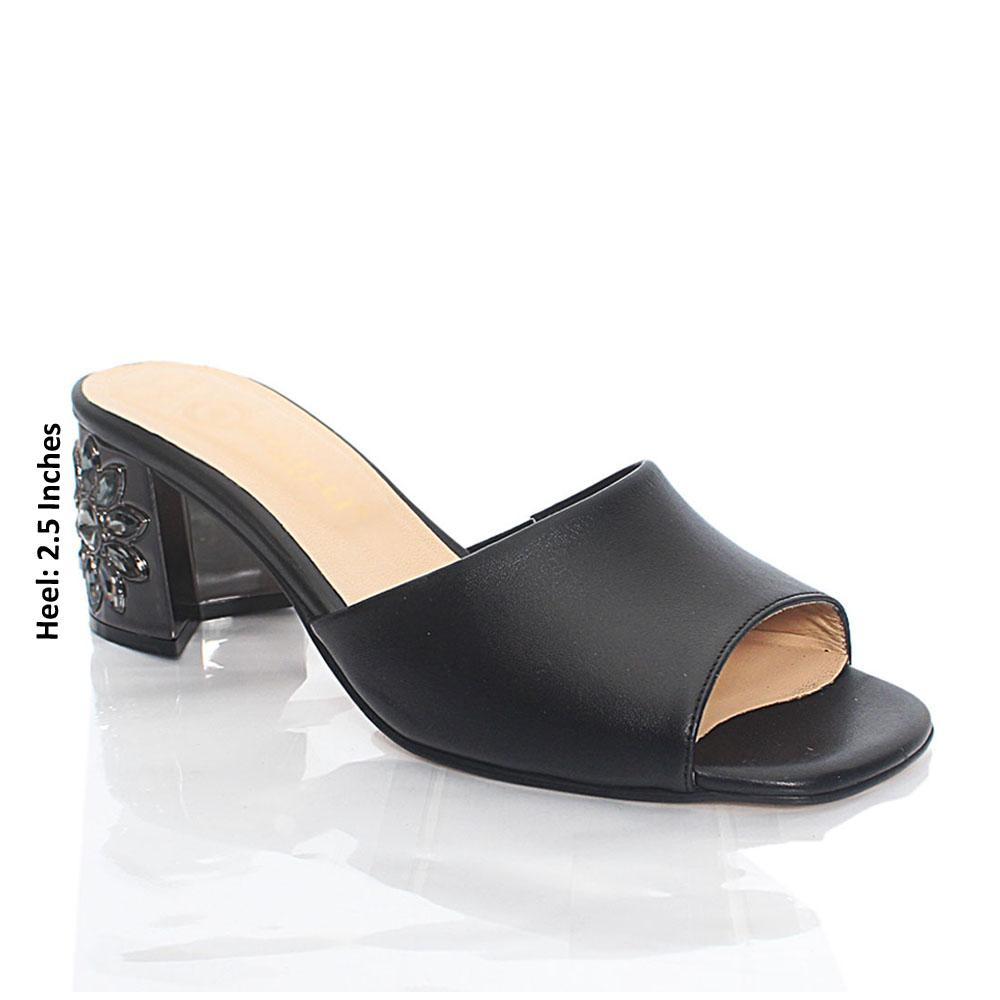 Black Luisa Smooth Italian Leather Mule Slippers