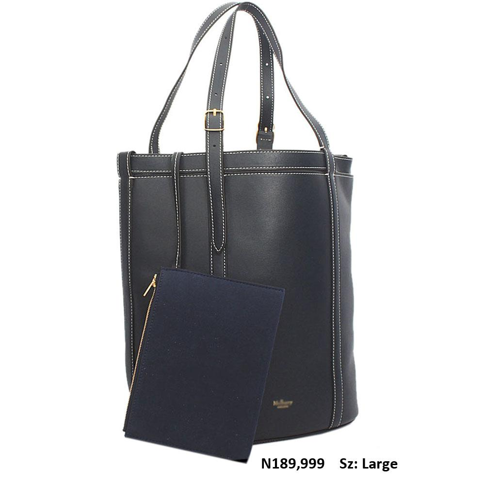 Navy Cowhide Leather Shoulder Handbag