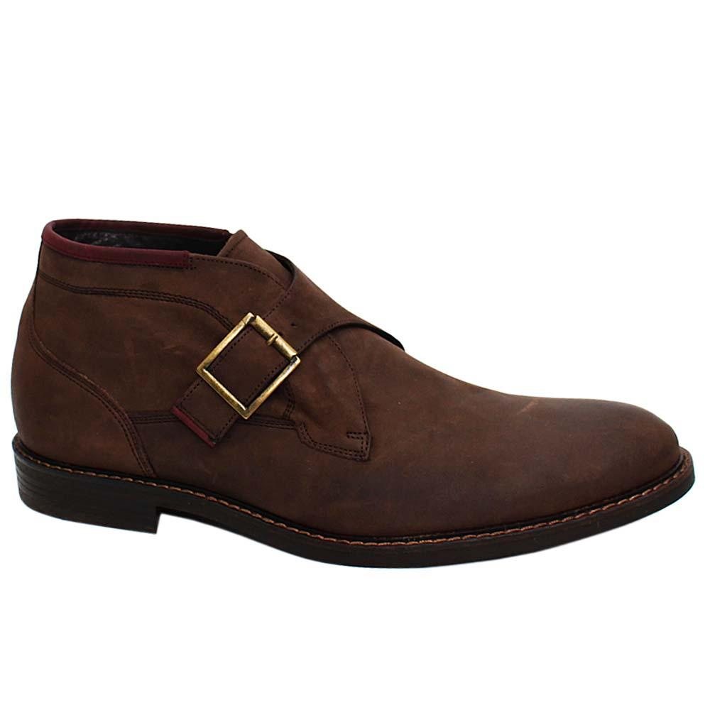 Coffee Ross Leather Monk Strap Men Boot