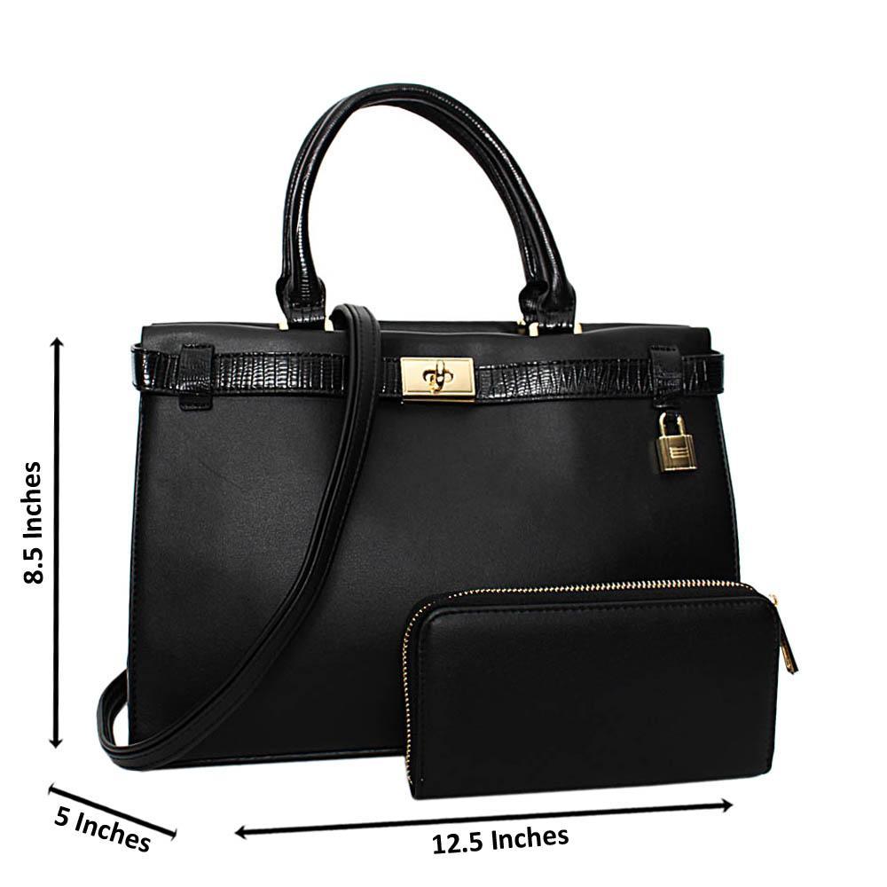 Black Bridgette Leather Medium Tote Handbag