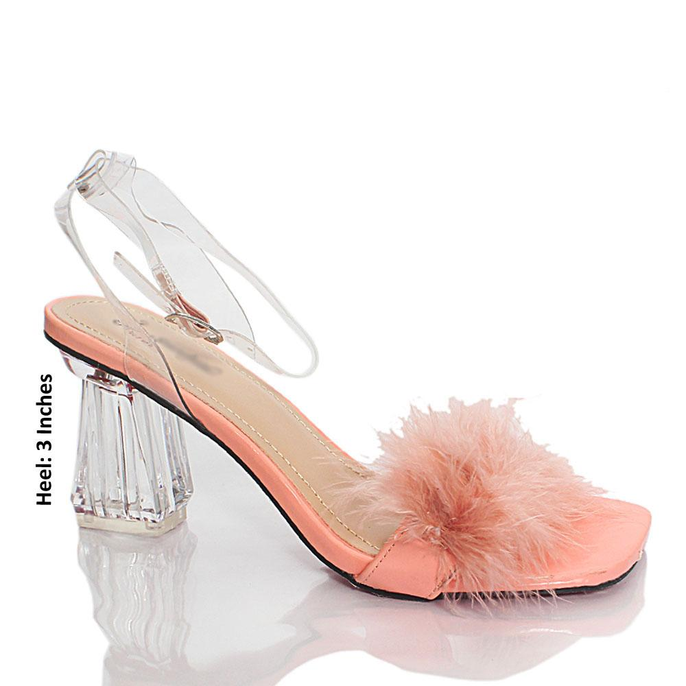 Peach Transparent Rubber Leather Heels