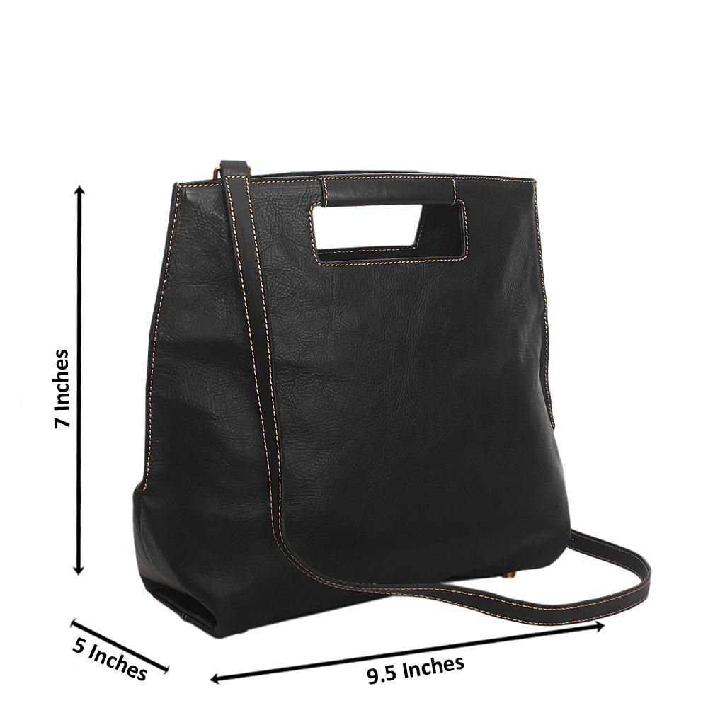 Black Cutie Saffiano Leather Top Handle Handbag