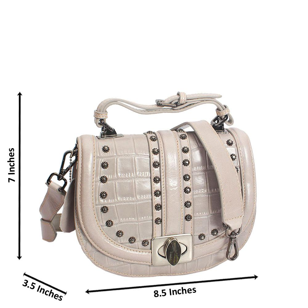 Kaitlin Grey Croc Studded Shining Montana Leather Mini Top Handle Bag