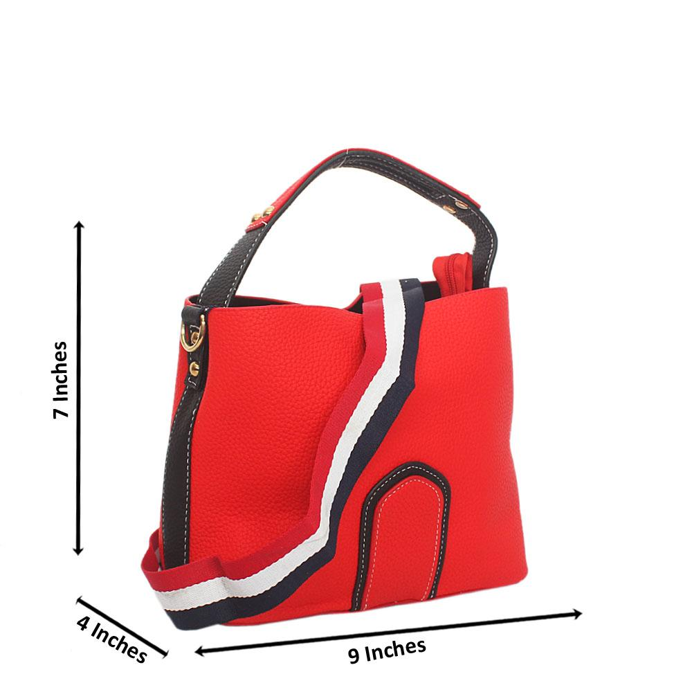 Lover Red Black Leather Small Top Handle Handbag