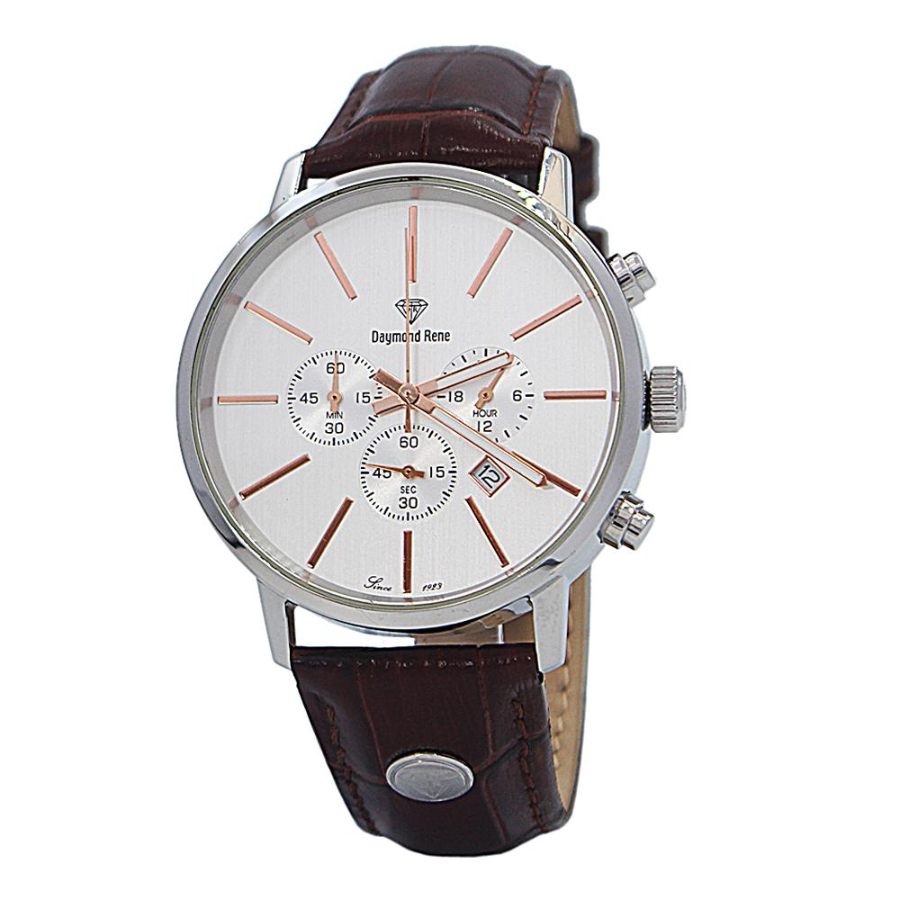DR 5ATM Brown Silver Leather Chronograph Watch